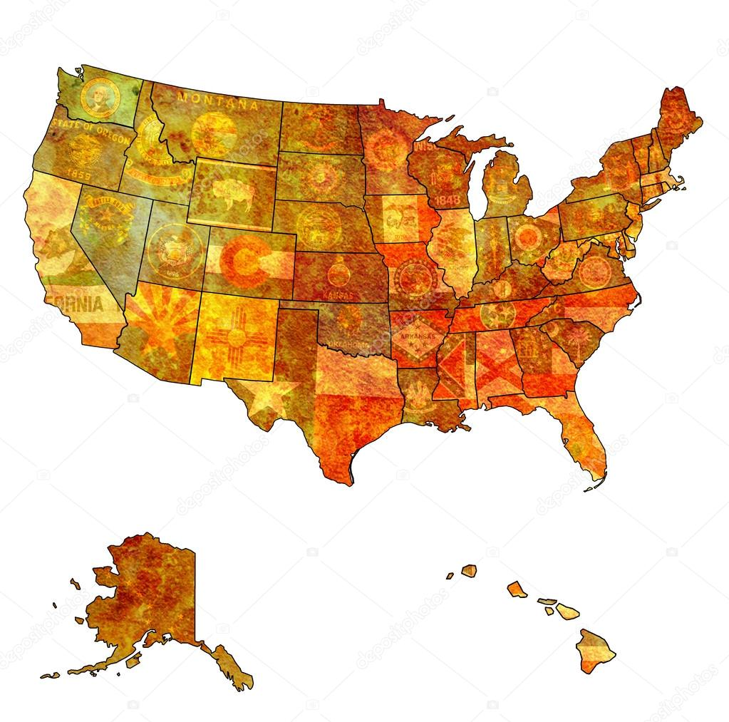 state flags on old vintage map of usa with state borders po by michal812