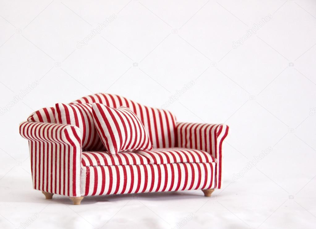Marvelous Comfortable, Modern Style Red Striped Sofa Or Couch U2014 Photo By Jahina