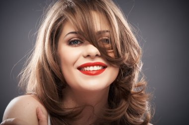 Woman portrait with curler hair