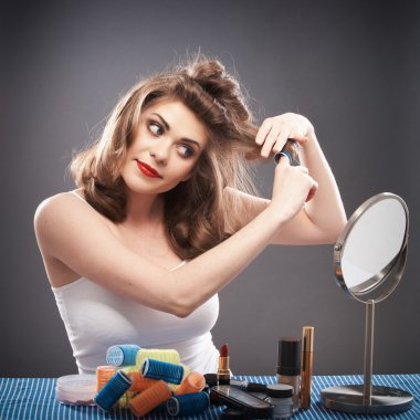 Woman with curler hair