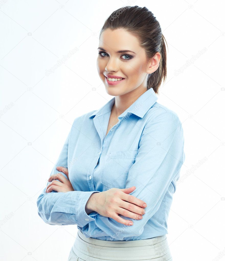 Portrait of smiling business woman, isolated on white backgroun