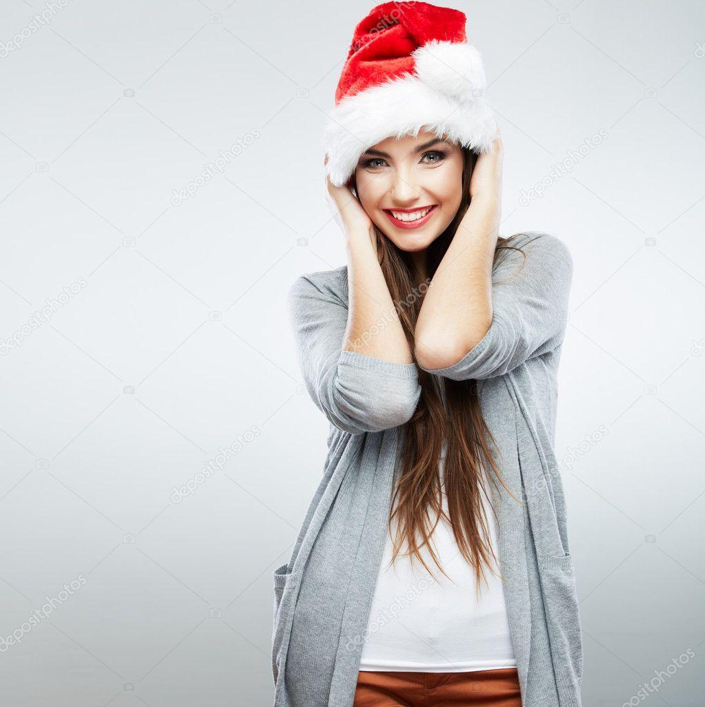 Christmas Santa hat isolated woman portrait .