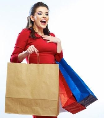Surprised shopping woman