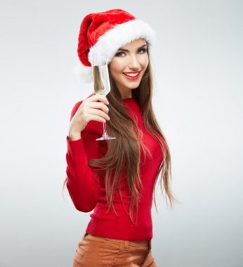 Smiling Santa girl with wine glass