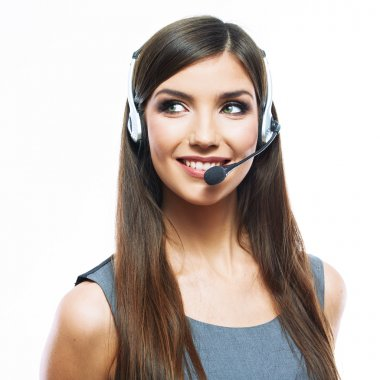 Close up portrait of customer service worker
