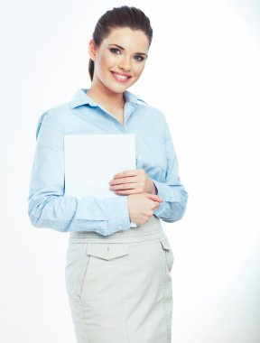 Business woman holding paper banner