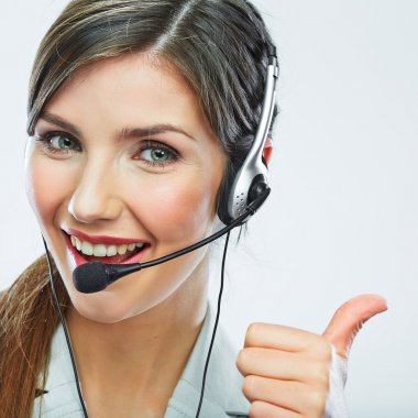 Customer service worker with thumb up