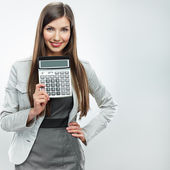Woman accountant show calculator