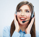 Smiling woman call center operator