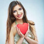 Fotografie Woman holding Red heart.