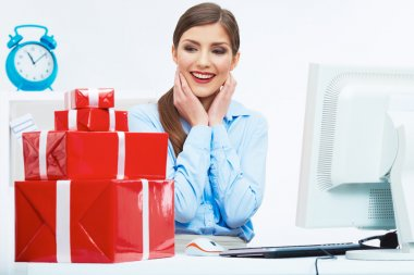 Business woman with Red gift boxes