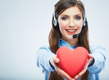 Call center operator hold heart