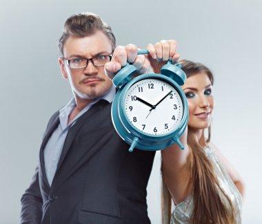 Time management. Business couple time concept.