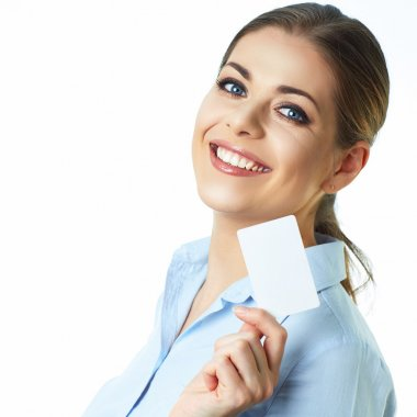Business woman holds credit card