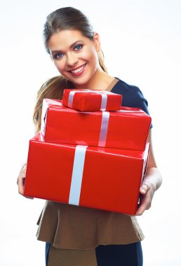 Woman holds gift