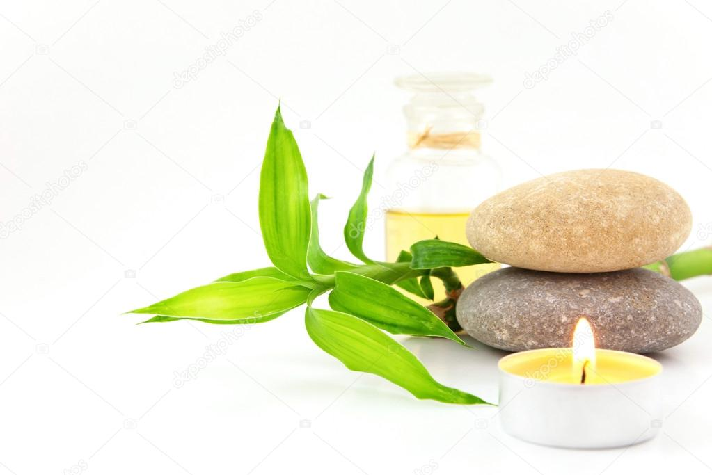 Spa concept with stones and bamboo