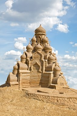 Shortlived sculpture from sand. Church of the Transfiguration