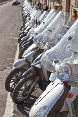 Stand of motorcycles