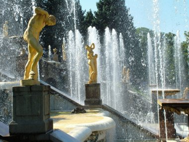 Peterhof. Grand Cascade. Large palace of museum complex Petrodvo