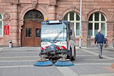 Frankfurt am Main.Cleaning up of streets