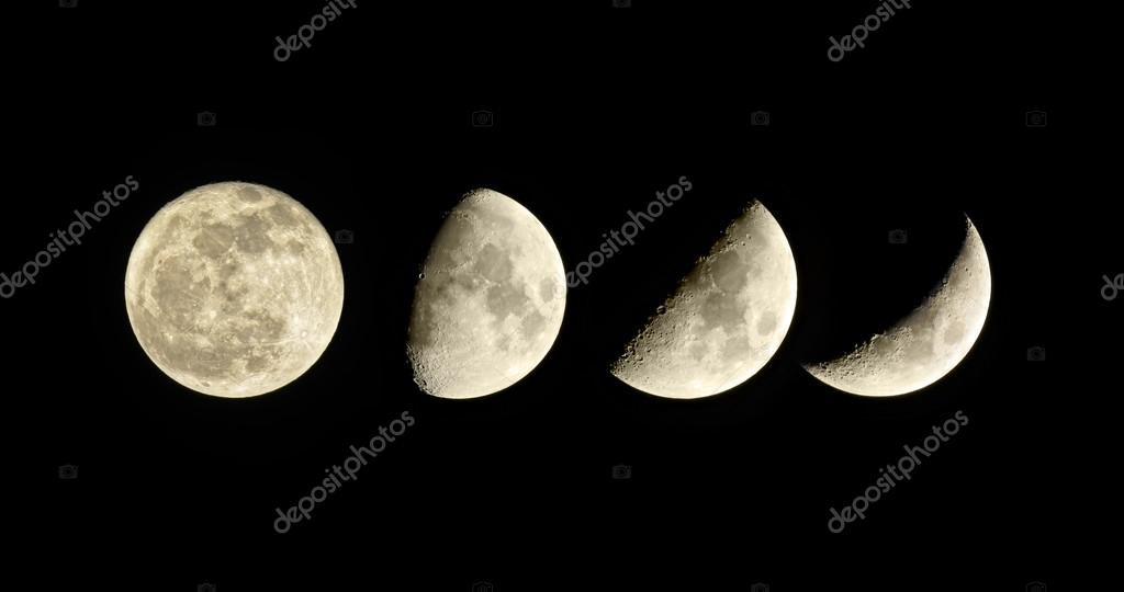 fase lunar luna creciente conjunto de cuatro cuadros On fase actual de la luna
