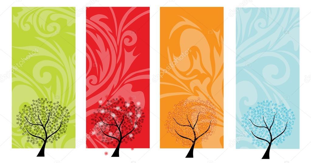 Four seasons tree banners
