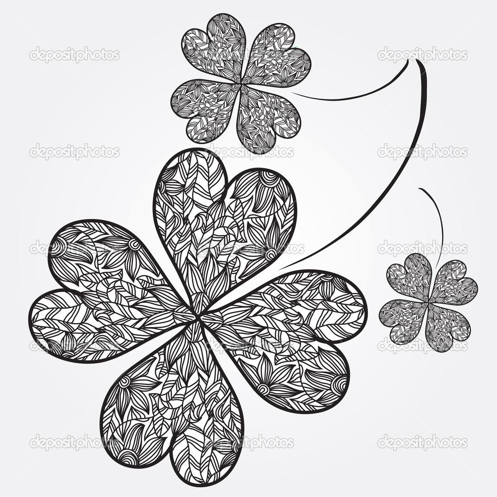 suerte de tréboles de cuatro hojas — Vector de stock © Chantall ...