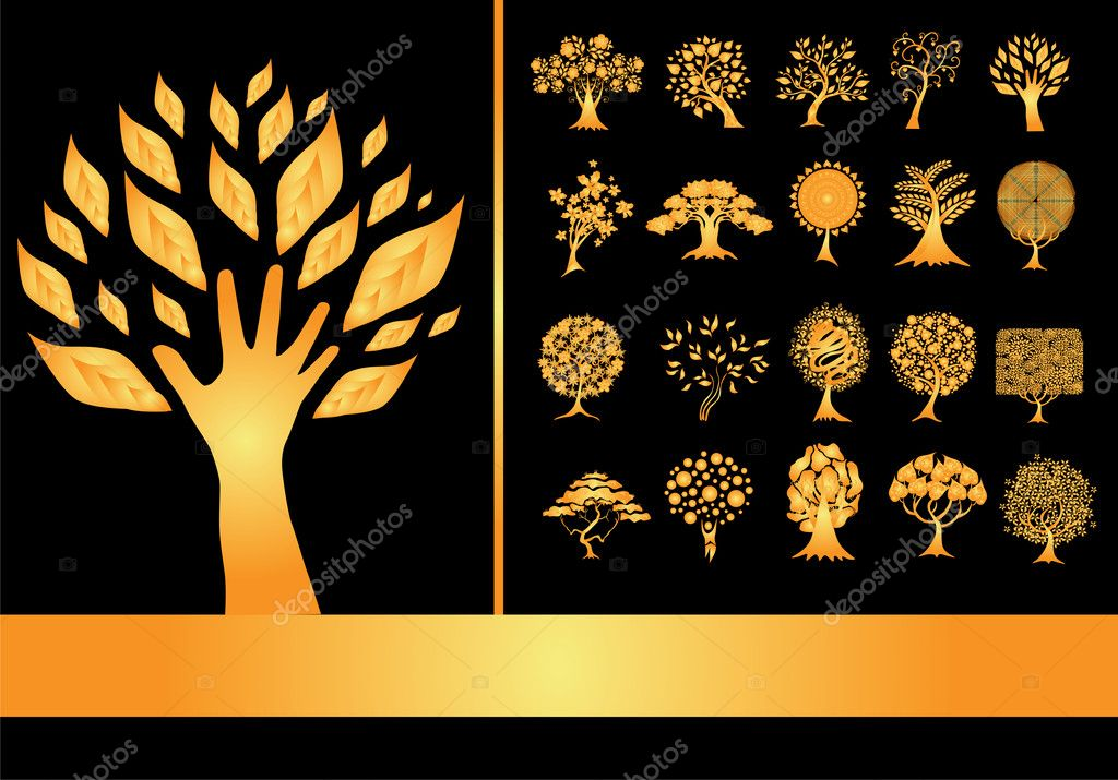 Set of 20 golden tree silhouettes
