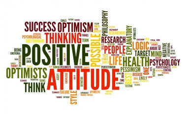 Positive attitude concept in word tag cloud