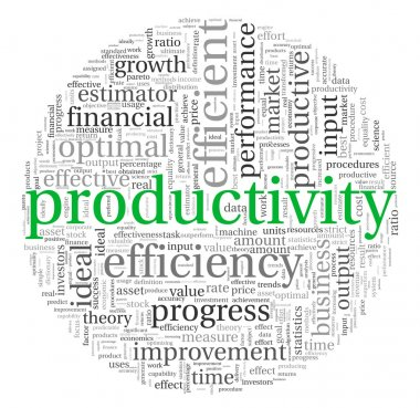 Productivity concept in word tag cloud