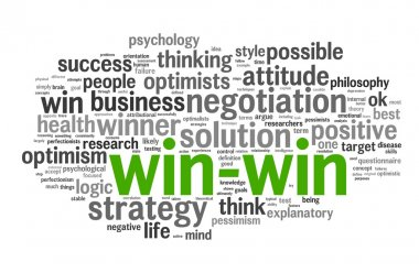 Win-win - winning solution concept in word tag cloud