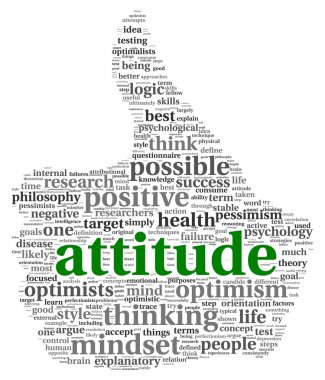 Attitude concept in word tag cloud of thumb up shape
