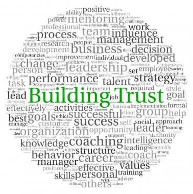 Building Trust concept in word tag cloud on white background