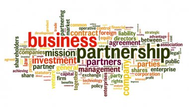 Business partnership concept in tag cloud on white