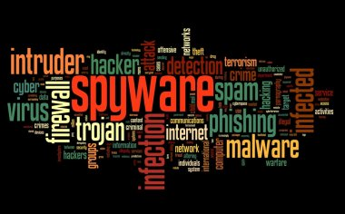 Spyware concept in word tag cloud on black background