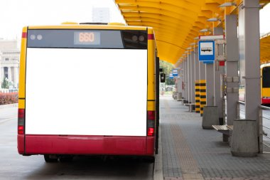 Blank billboard on back of bus