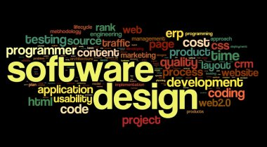 Software design concept in tag cloud on black background