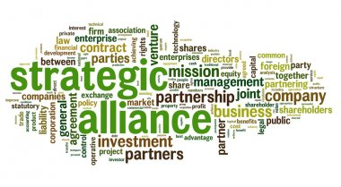 Strategic alliance concept in tag cloud on white