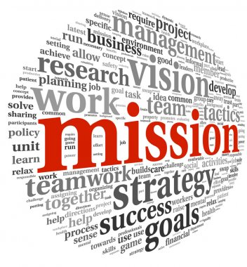 Mission and bussiness management concept in word tag cloud isolated on white background stock vector