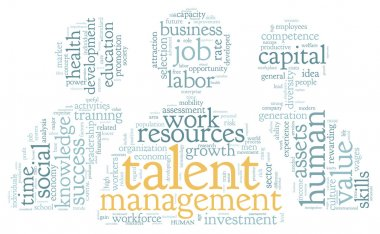 Talent management concept in word tag cloud on white background stock vector