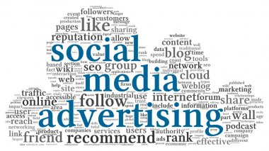 Social media advertising concept in word tag cloud