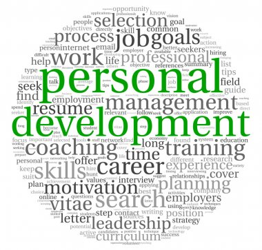 Personal development and career concept in word tag cloud