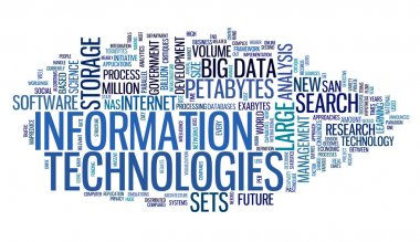 Information technology concept in tag cloud on white background stock vector