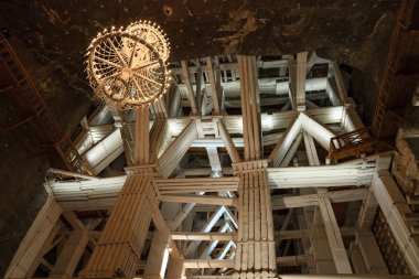 Wooden bow and strengthen the Wieliczka Salt Mine, Poland.