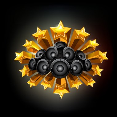 Black background with stars and speakers. Vector
