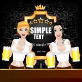 Fényképek két fiatal szexi nő, két sör