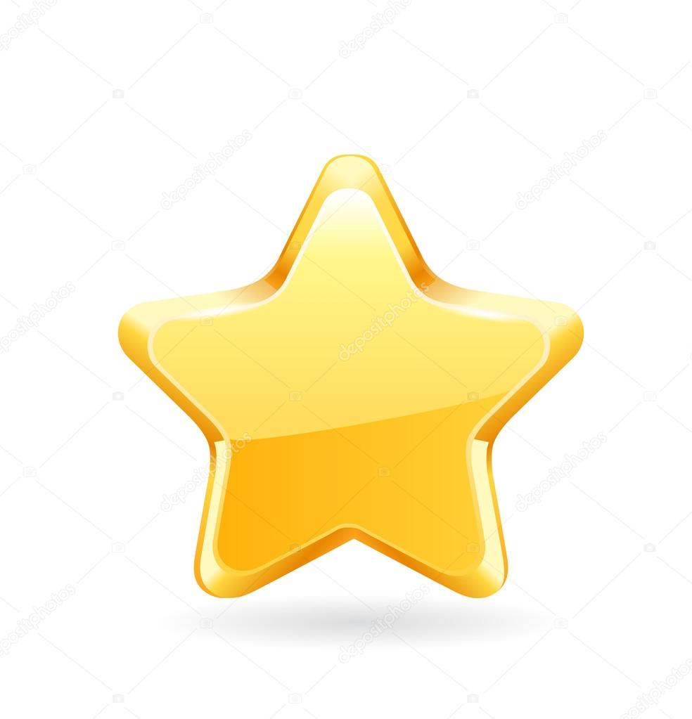 Gold star on white background. Vector