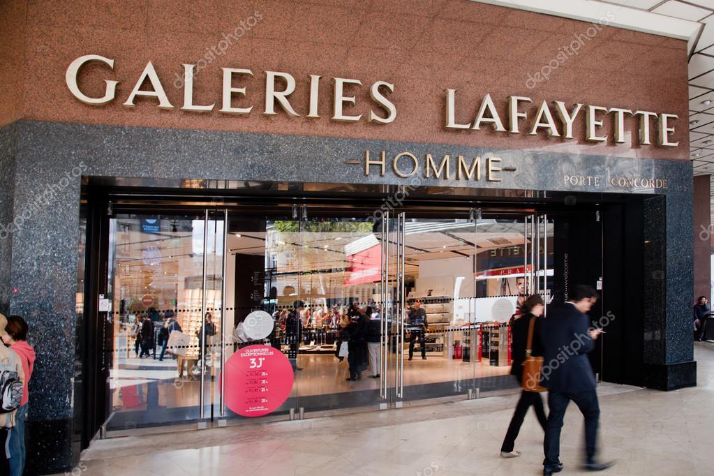 entrance to lafayette shopping center paris stock editorial photo