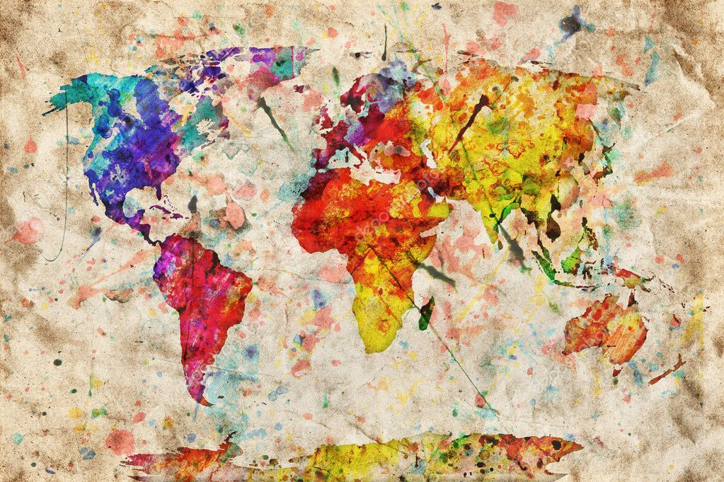 Vintage world map colorful paint watercolor on grunge old pap vintage world map colorful paint watercolor on grunge old pap stock photo gumiabroncs Gallery