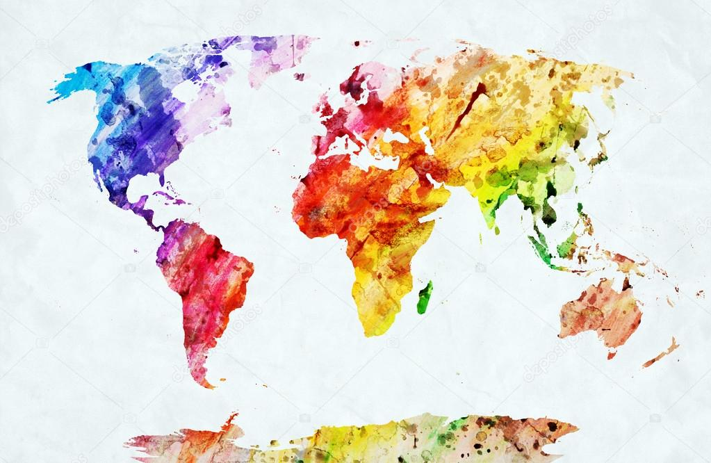 Watercolor world map stock photo photocreo 35478247 watercolor world map stock photo gumiabroncs Gallery